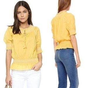Tory Burch Yellow Smocked Embroidered Peasant Top